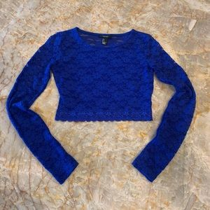Forever 21 blue lace long sleeve crop top